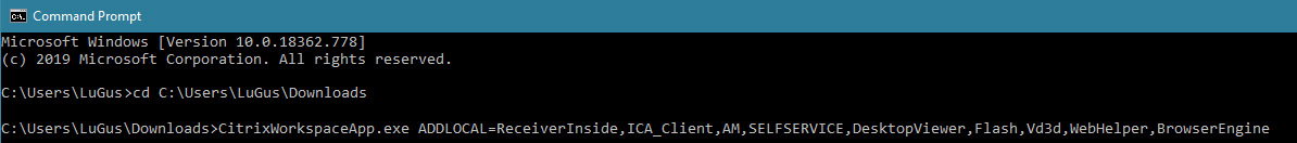 Command line arguments for the Citrix installer