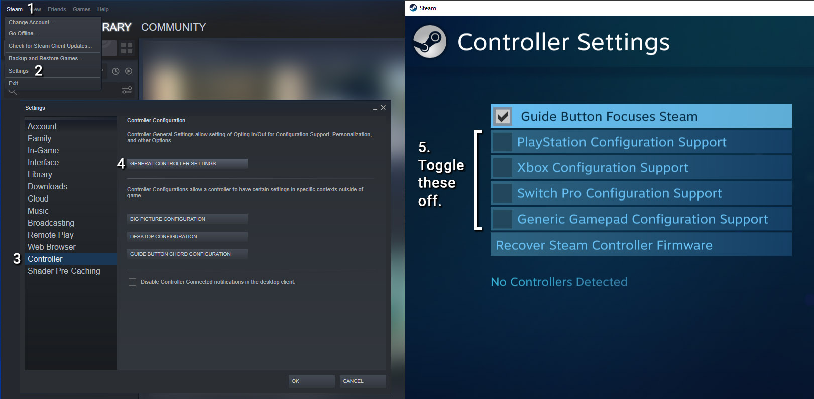 How to disable Steam controller overrides